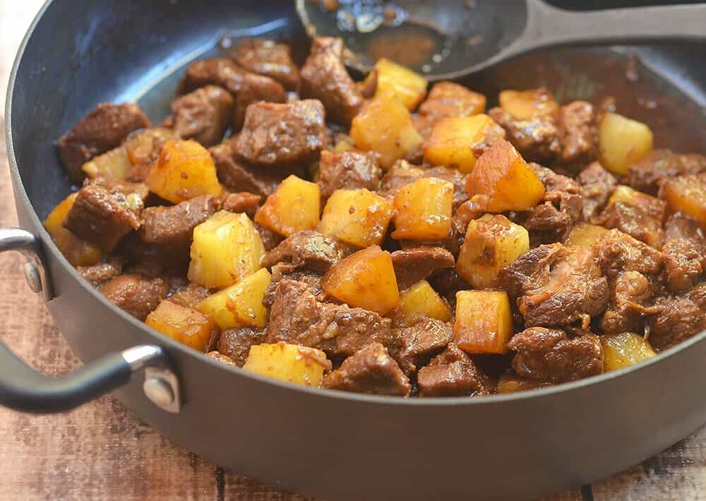 pork adobo with pineapple in a casserole