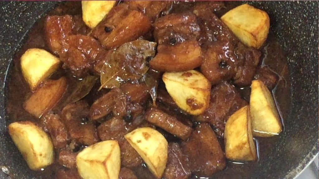 pork adobo with fried potatoes