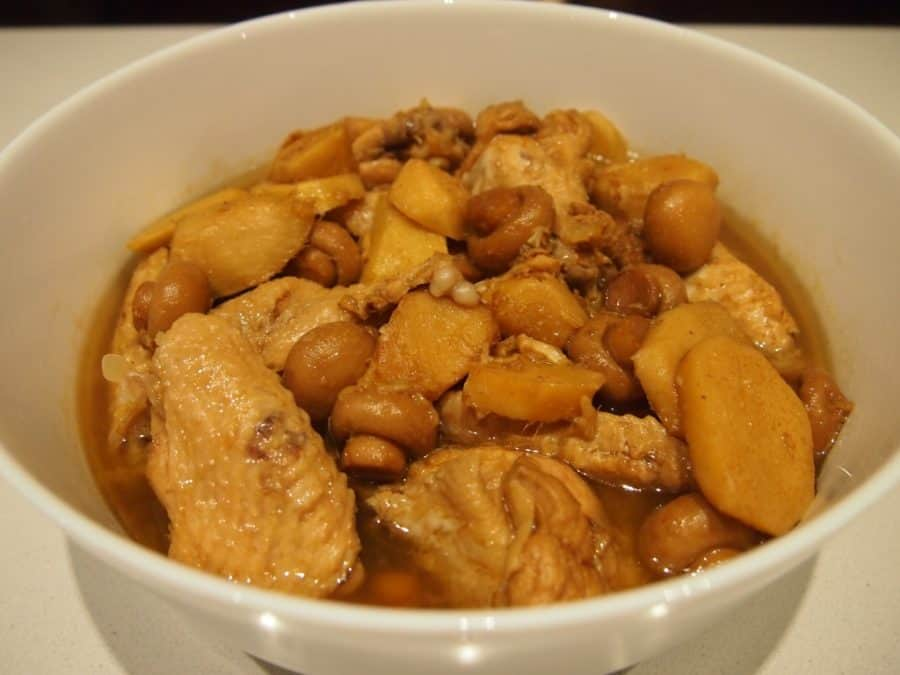 chicken pakam in a white bowl