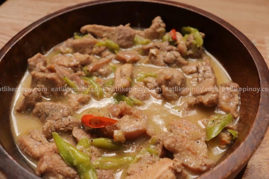 delicious pork bicol express with red and green chilies