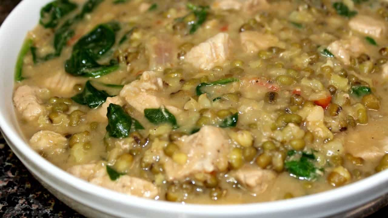 ginisang monggo with cubed porks