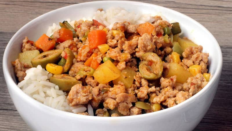 giniling guisado in a bowl with rice