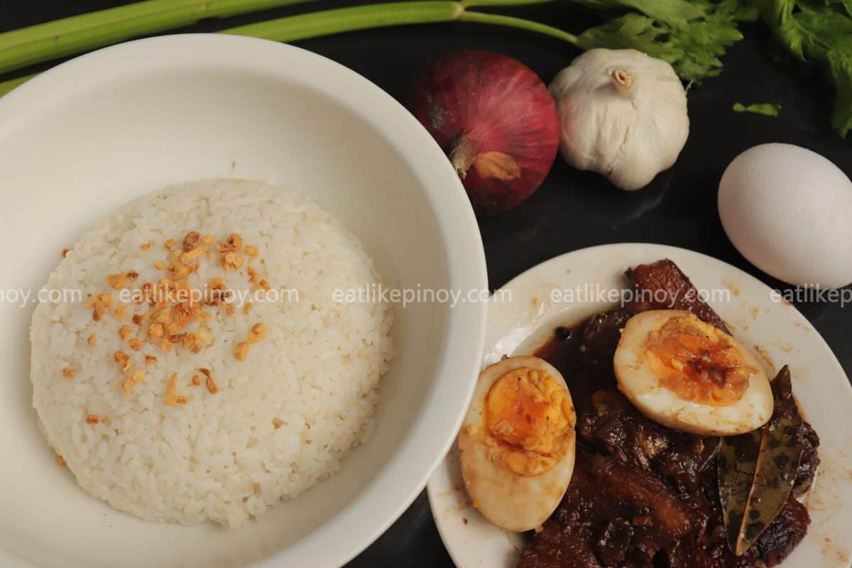 pork adobo with boiled eggs with garlic rice