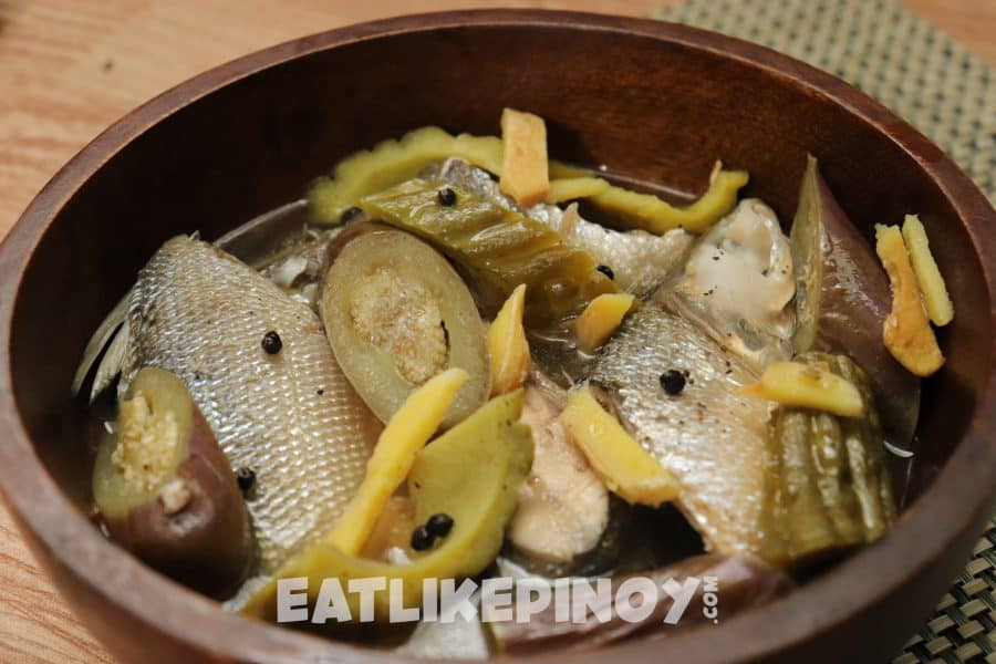 delicious paksiw na bangus with ampalaya and black pepper in a bowl