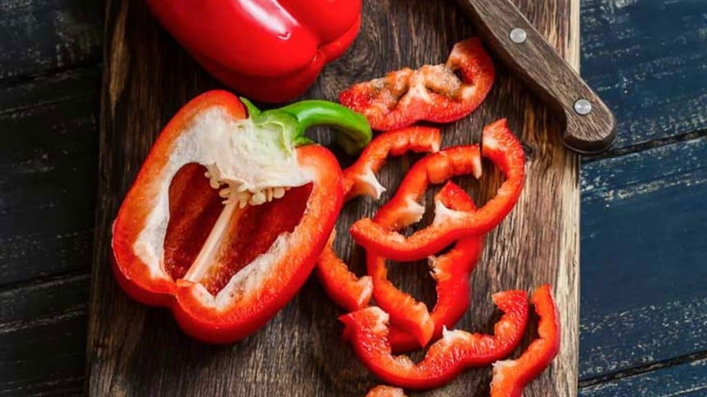 red bell pepper halved and sliced
