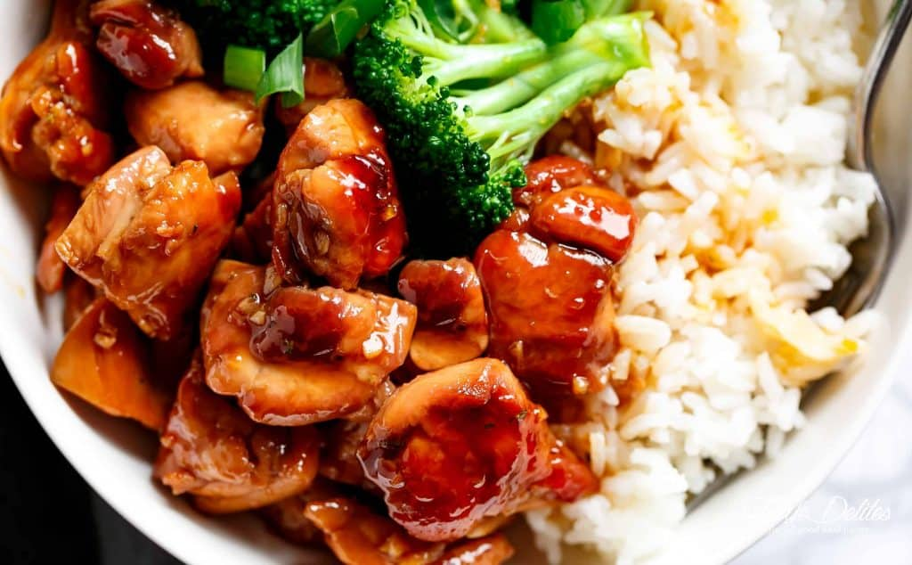 teriyaki chicken and rice in a bowl