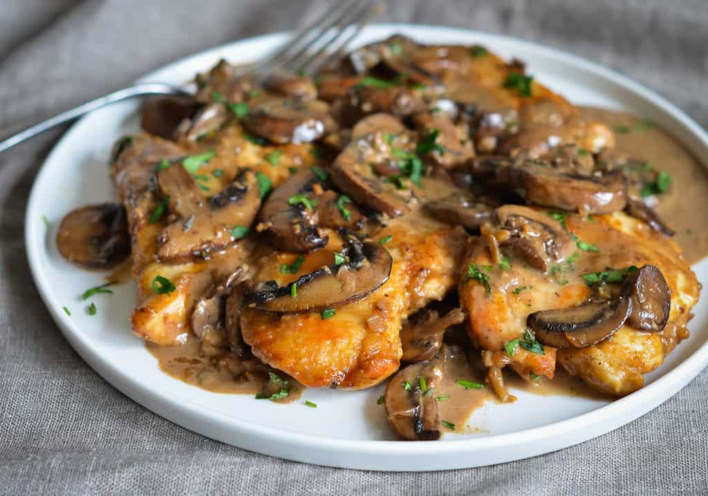delicious chicken marsala in a plate with mushrooms