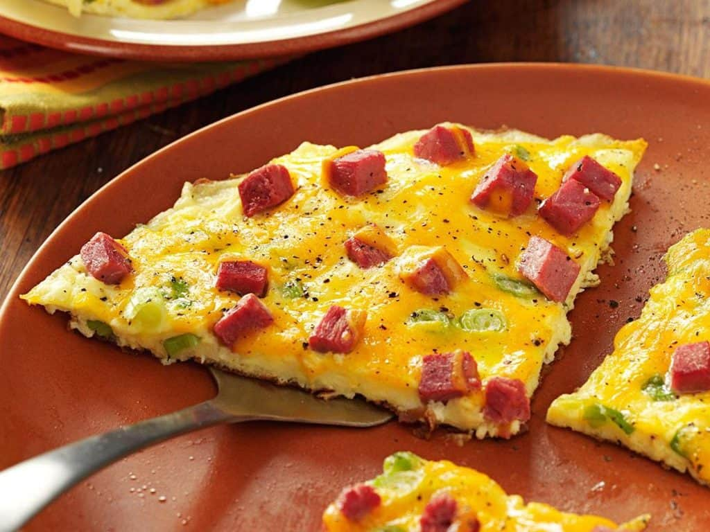 sliced corned beef omelette in a large plate