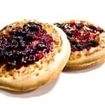 yummy crumpets with raspberry on top