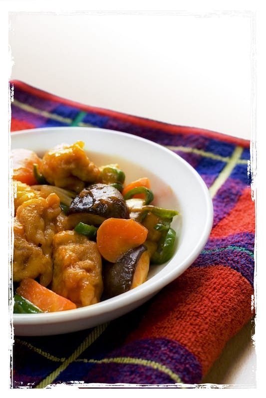 sweet and sour pork in a bowl