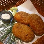 potato croquettes on a native basket with sauce