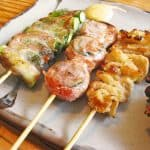 delicious yakitori serve on a plate