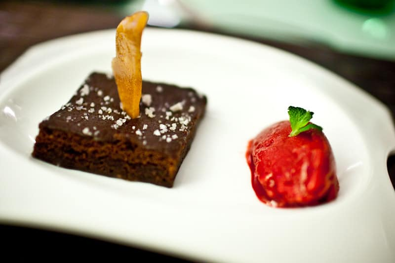 brownie brittle side with raspberry sorbet