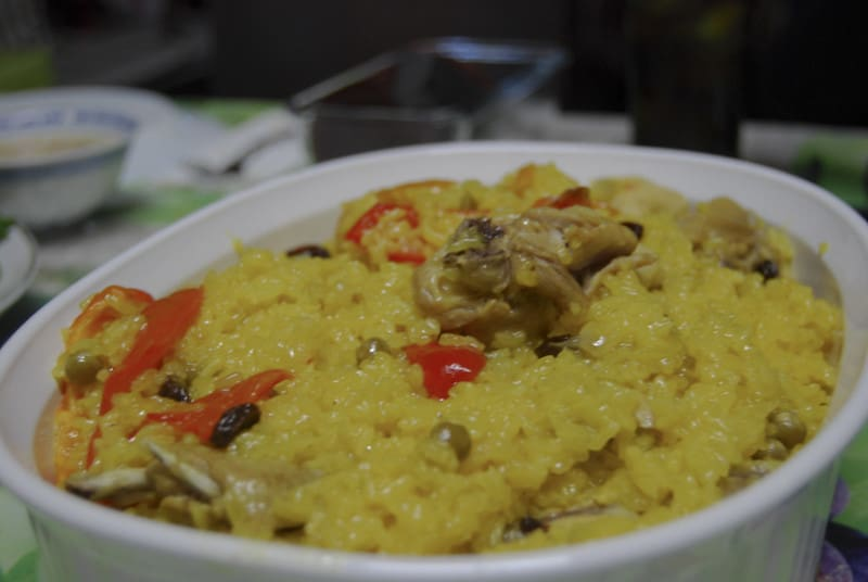 arroz valenciana in a white bowl
