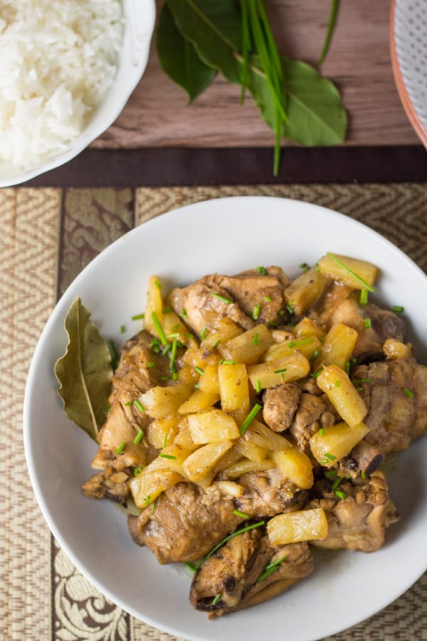 adobo with pineapple chunks in a plate