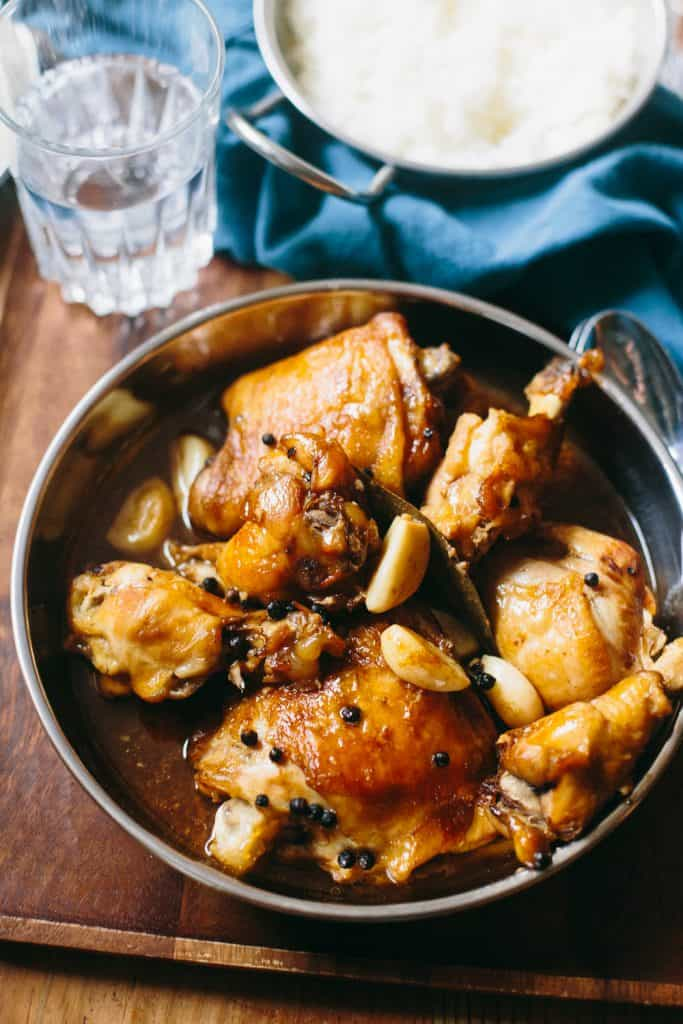 delicious chicken adobo in a pan