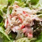 delicious crab salad in a clear bowl