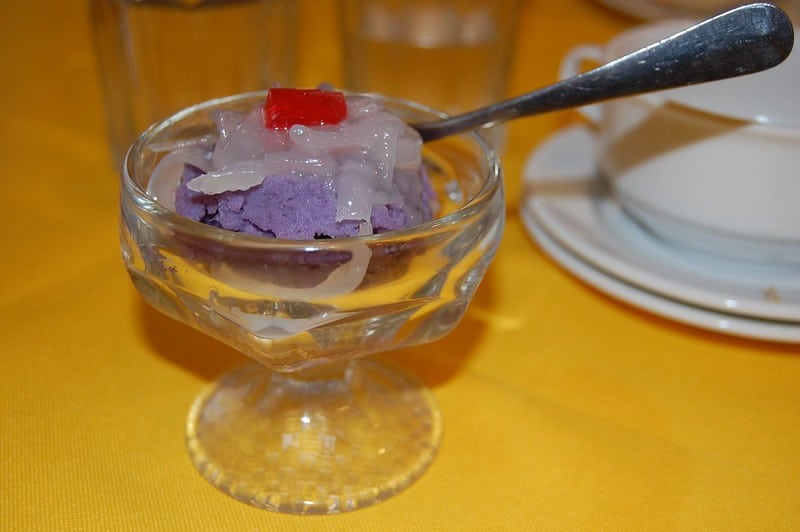 ube halaya in a dessert cup