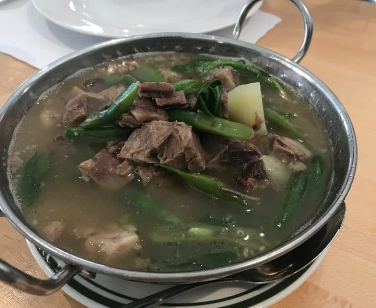 beef lauya in a stainless bowl